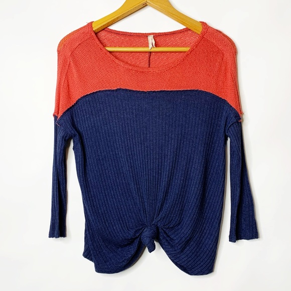 Free People Color Block Knot Front Open Back Top